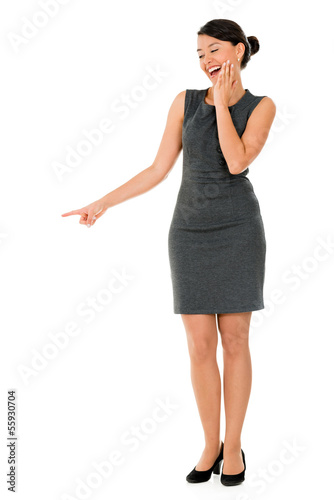 Business woman making fun and pointing