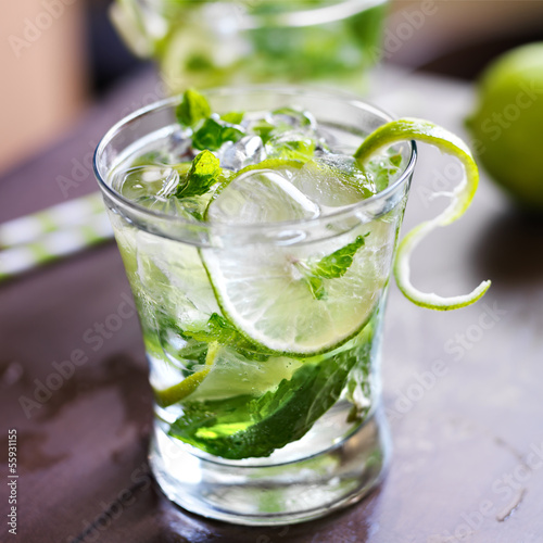 Mojito cocktail close up photo