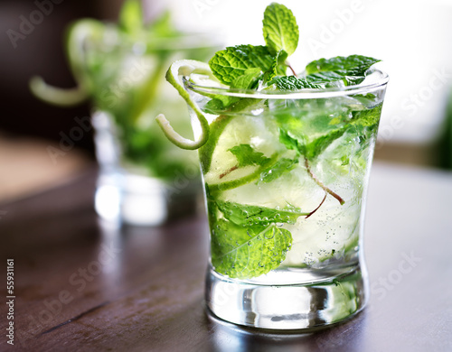 cocktail - two cold mojitos - 55931161