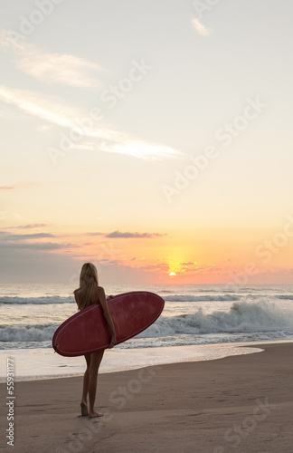 Woman Surfer Girl In Bikini Surfboard Sunset Beach