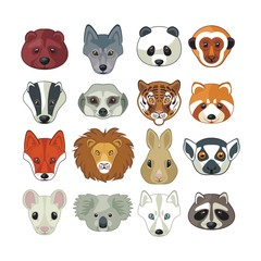 Wild animal heads set