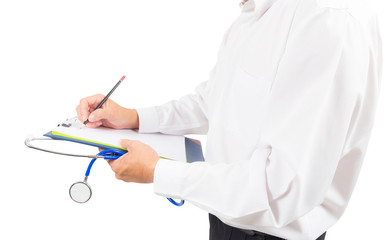 doctor writing on paper isolated with clipping path