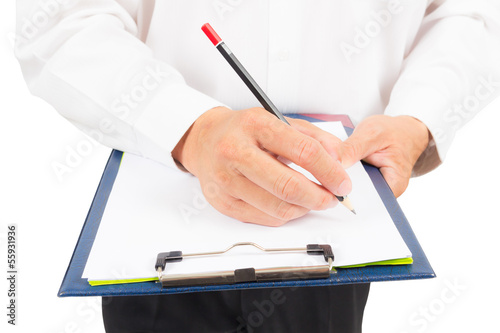 doctor writing on paper