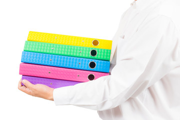 business man holding stack of colorful folder