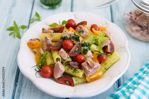 Rigatoni pasta with tuna, mixed tomatoes and pesto - 55932134