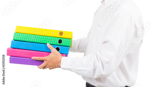 business man holding stack of folder