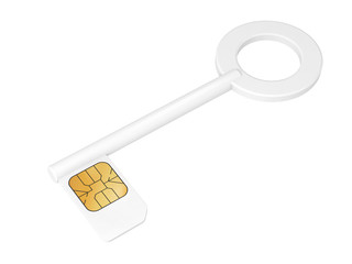 Key with sim card isolated on white, 3d render illustration