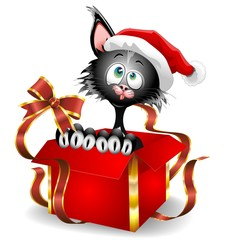 Cat Cartoon on Christmas Gift-Gatto buffo Babbo Natale