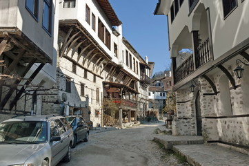 Old town Melnik with traditional houses and pyramid loose rocks