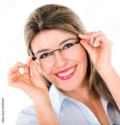 Woman trying out glasses
