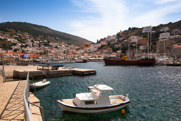 View of Hydra town in Greece