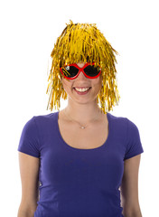 Woman with funny yellow wig and red sunglasses