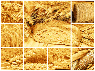 Collage sobre el pan y los cereales con que se hace