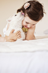 Girl and a puppy