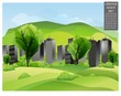 Green landscape with buildings and trees.