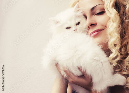 Woman and a kitten