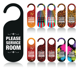 a set of please service my room signs