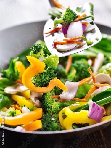 spatula stirring vegetables in a stir fry wok.