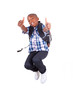 African American school boy jumping and making thumbs up - Black