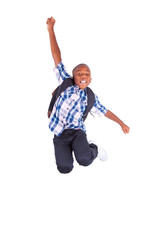 African American school boy jumping - Black people