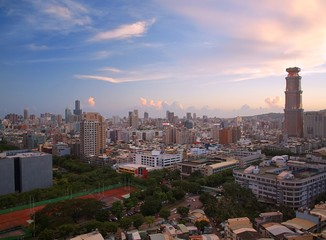 View of Kaohsiung City in Taiwan at Dusk