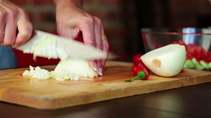 Woman hands slicing onion in kitchen