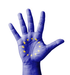 Open hand raised, multi purpose concept, EU flag painted