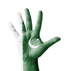 Open hand raised, multi purpose concept, Pakistan flag painted