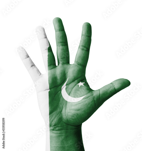 Open hand raised, multi purpose concept, Pakistan flag painted