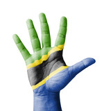 Open hand raised, multi purpose concept, Tanzania flag painted