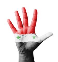 Open hand raised, multi purpose concept, Syria flag painted