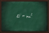 Famous physics equation on blackboard