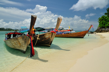 Boats on beautiful beach, Phi Phi island, Krabi, Thailand