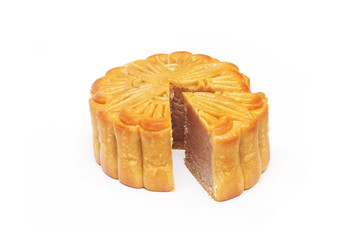 round chestnut Chinese moon cake isolated on white background
