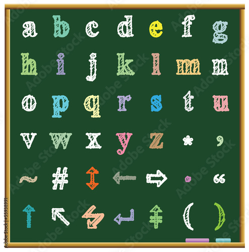 Blackboard and chalk alphabet