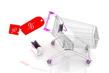 shopping cart with tag(discount,for shopping cart)