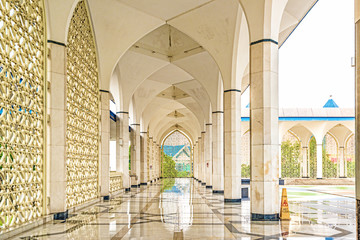 Hallway of the mosque at  Blue Mosque in Shah Alam, Malaysia.