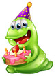 A greenslime monster celebrating a birthday