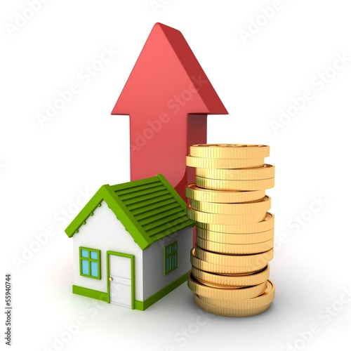 real estate concept house with golden coins and rising arrow