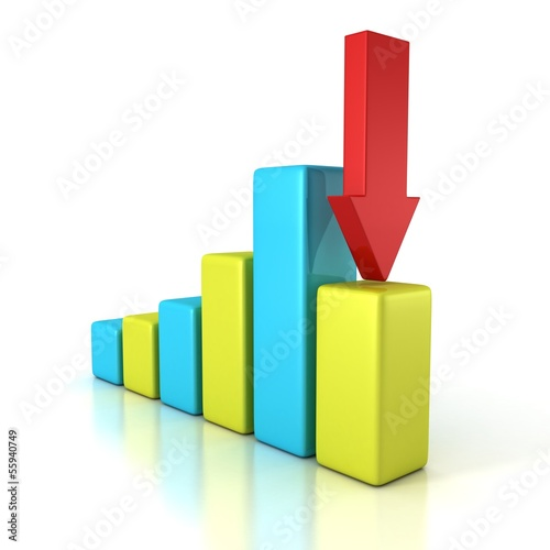 colorful crisis financial bar diagram with red arrow down
