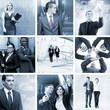 A collage of business images with young people in formal clothes