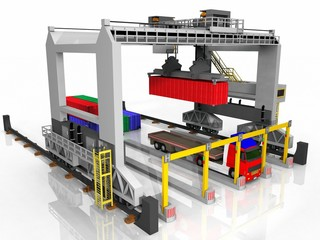 Container and truck loading station