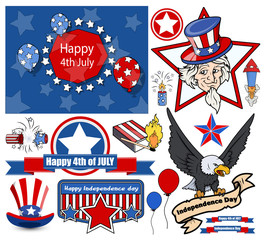 happy 4th of July - Vector Designs Set