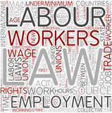 Labor law Word Cloud Concept poster