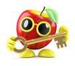 3d Apple holds a golden key