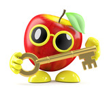 3d Apple holds a golden key