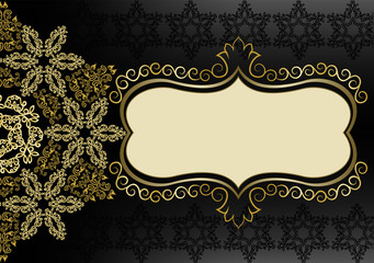 Vintage gold frame on a black background