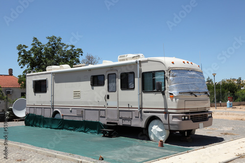 Large RV on a camping site