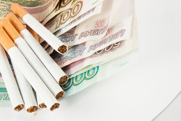 Money and group of cigarettes