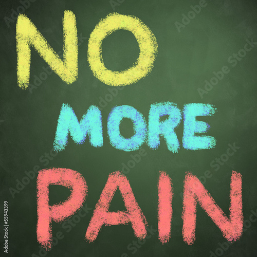 no more pain words on green chalkboard background